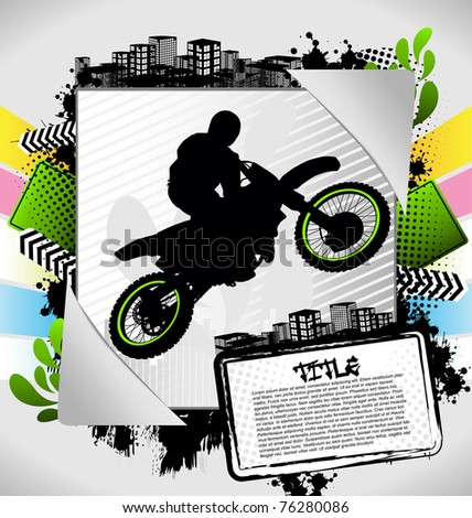 Abstract summer frame with motorcyclist silhouette - stock vector