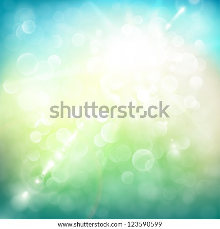 Abstract summer illustration with sun beams and defocused lights - stock vector