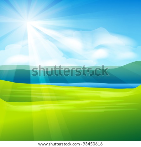 abstract summer landscape background - vector illustration - stock vector