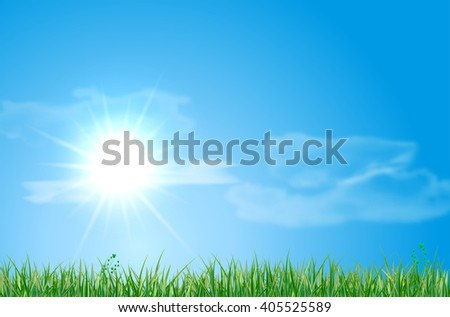 Abstract summer landscape with meadow, sky, sun and clouds - vector illustration