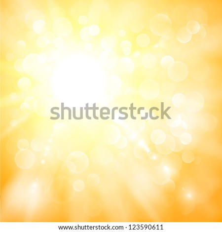 Abstract sun illustration with defocused lights - stock vector