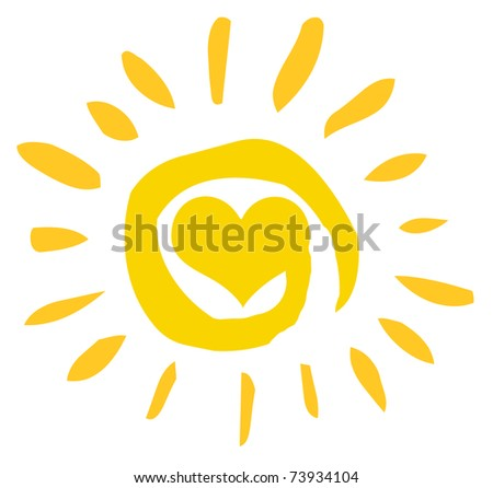 Abstract Sun With Heart - stock vector
