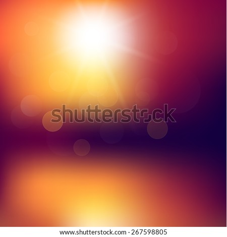 Abstract sunset background with defocused lights - eps10 - stock vector