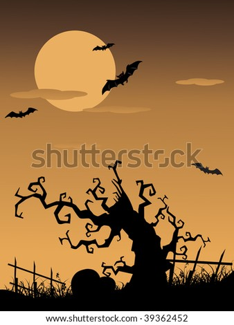 abstract sunset background with tree silhouette