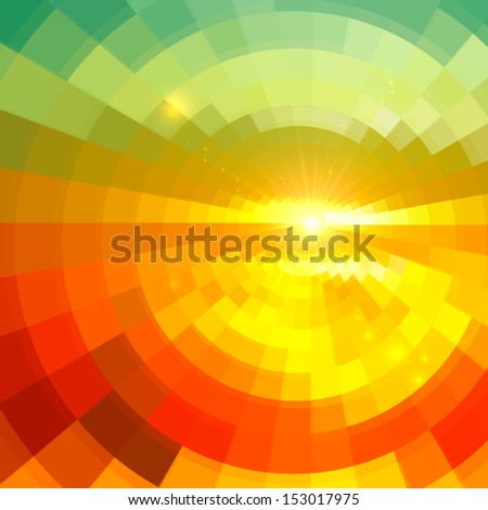 Abstract sunset in glass shining vector background - stock vector