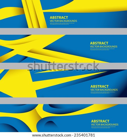 Abstract Swedish Flag, Sweden National Color Infographics Background (Vector Art) - stock vector