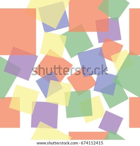 Abstract sweet squares seamless children background. Colored stickers.