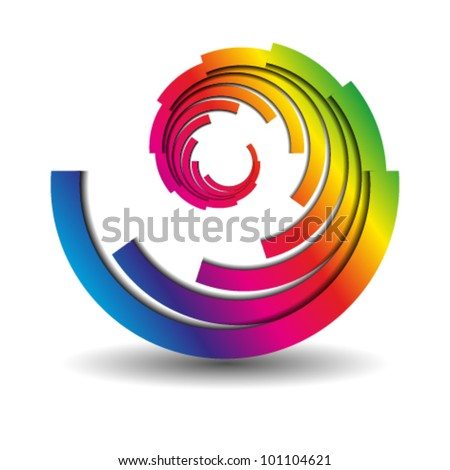 abstract swirl business icon, logo - stock vector