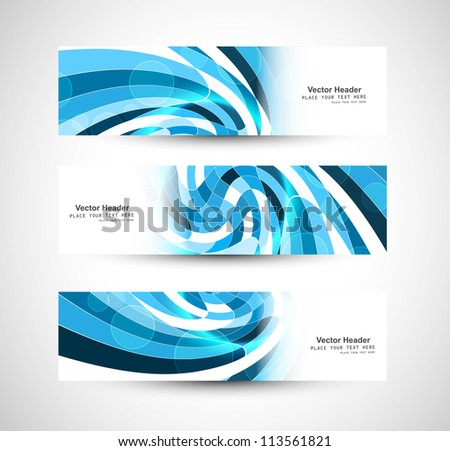 Abstract swirl header blue wave vector whit design - stock vector