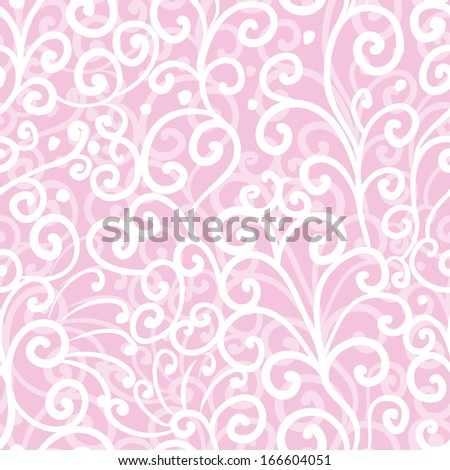 Abstract swirl seamless pattern, pink ornament, waves background, wedding, it is a girl