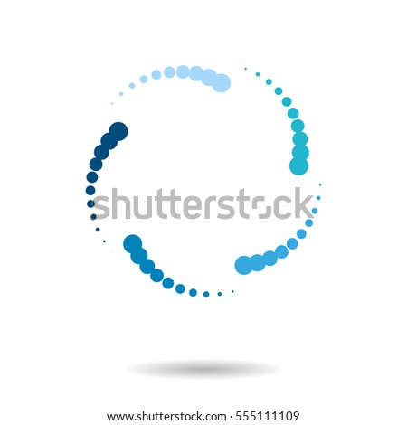 Abstract swirly dotted illustration.Business logo design. Blue figure on white background. Five water drops business concept