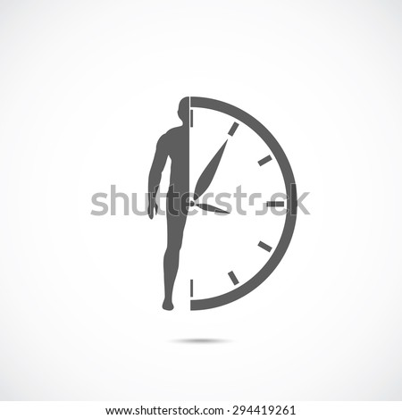 Abstract symbol concept. Human silhouette and clock. - stock vector