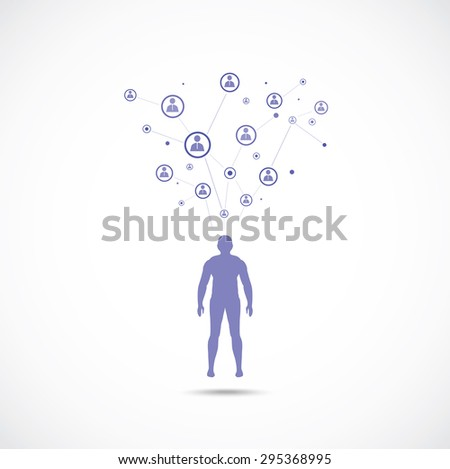 Abstract symbol concept. Human silhouette with  human connection. - stock vector