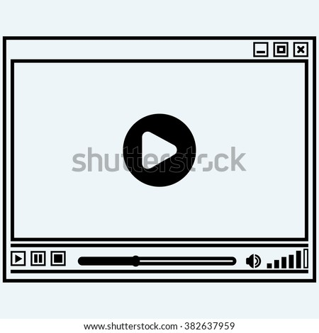 Abstract symbol of video player. Isolated on blue background. Vector silhouettes - stock vector