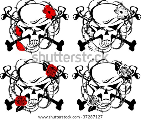 Abstract symbol with skull, crossbones, barbed wire and flowers in vector format. Red, black and white. - stock vector