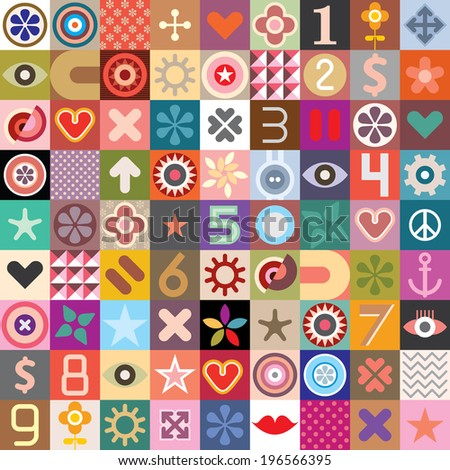 Abstract symbols collage - vector seamless wallpaper.