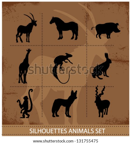 abstract symbols of animals silhouette vector isolated - stock vector