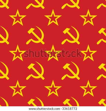 Abstract symbols of USSR background. Yellow - red palette. Seamless. Vector illustration. - stock vector