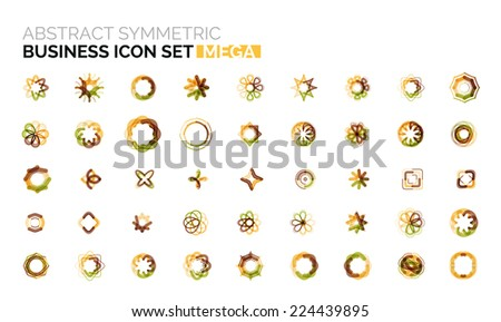 Abstract symmetric geometric shapes, business icon logo mega collection - stock vector