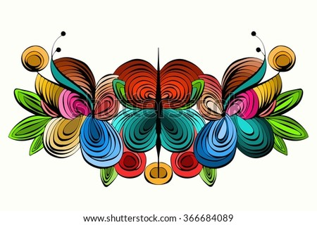 abstract symmetrical pattern of colored lines spiral - stock vector