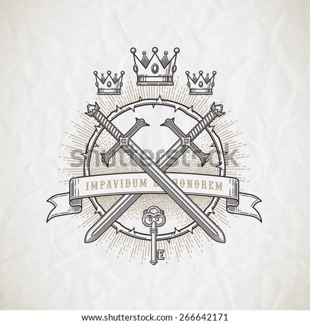 Abstract tattoo style line art emblem with heraldic and knightly elements - vector illustration - stock vector
