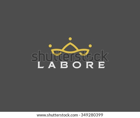 Abstract team company logo icon vector design. Elegant crown premium symbol. Unique partners logotype sign mark - stock vector