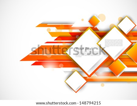 Abstract tech background in orange color - stock vector
