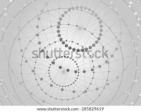 Abstract tech background with  lattice sphere and nodes. Close-up background.