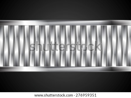 Abstract tech banner from metallic stripes. Vector background - stock vector