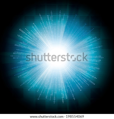 Abstract tech binary blue bright background  - stock vector