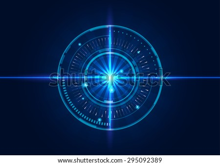 abstract tech circles background design with light effect