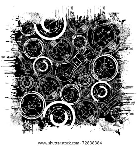 abstract technical drawing in grunge black square - stock vector