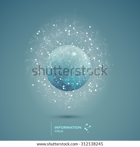 Abstract technical information field background design earth. Vector illustration - stock vector