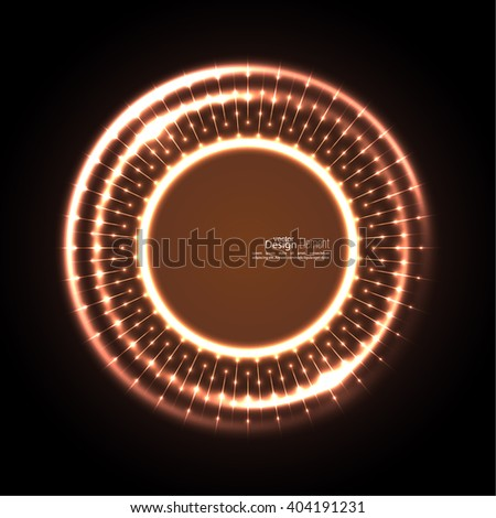 Abstract techno background with spirals and rays with glowing particles. Tech design. Lights vector frame. Glowing dots.  brown, beige, bronze, sepia, chocolate - stock vector