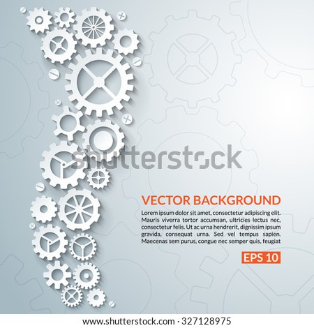 Abstract techno background with white gear wheels. Space for text. Vector illustration - stock vector
