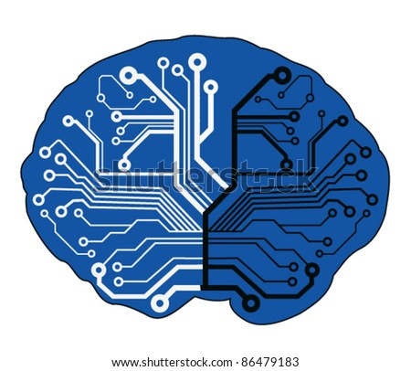 abstract techno brain - stock vector