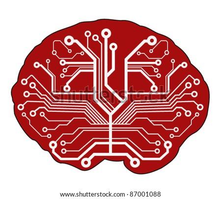 abstract techno brain. vector illustration - stock vector