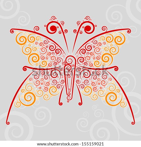 Abstract techno flourishes of butterfly on a gray background - stock vector