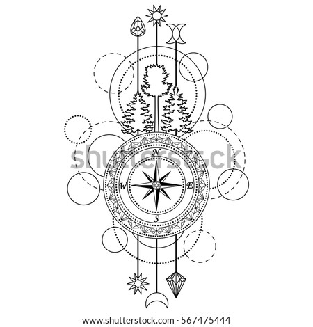 Abstract Techno Pattern With Compass Trees And Geometric Elements On White Background Modern Tattoo