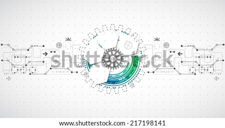 Abstract technological background with various elements - stock vector
