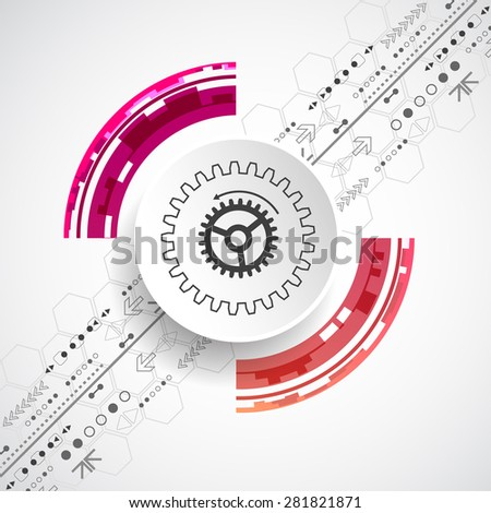 Abstract technological background with various elements. Circle theme vector. - stock vector