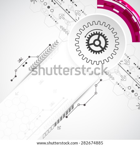 Abstract technological background with various elements. Circle theme vector.