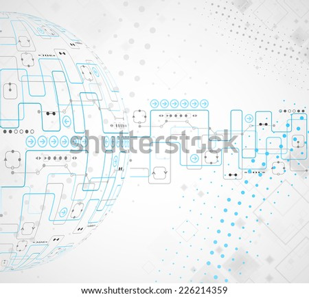 Abstract technological background with various technological elements - stock vector