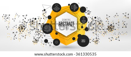 Abstract technological cover design with various geometric elements - Particle structure pattern technology background - stock vector
