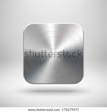 Abstract technology app icon, blank button template with metal texture (chrome, silver, steel), realistic shadow and light background for web sites, user interfaces (UI) and applications (apps). - stock vector