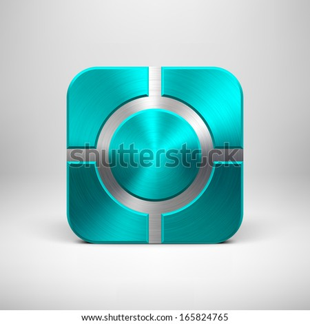 Abstract technology app icon, button template with cyan (blue) metal texture (chrome, silver, steel), realistic shadow and light background for user interfaces (UI) and applications (apps).