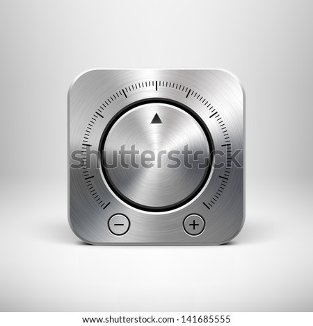 Abstract technology app icon with music button (volume, sound control knob), metal texture (stainless steel, chrome, silver), shadow and light background for web user interfaces (UI) and applications. - stock vector