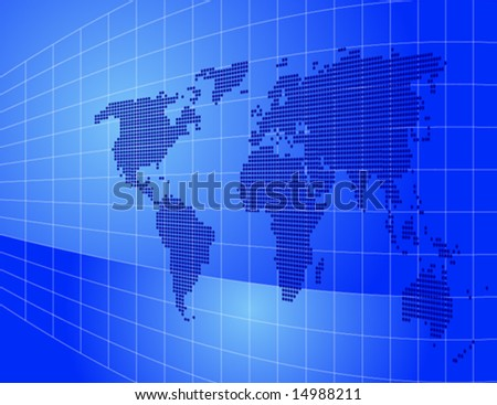 abstract technology background and world map - stock vector