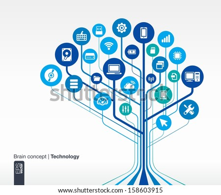 Abstract technology background. Brain concept (circuit) with mobile phone, network, computer, technology, laptop, flash card, computing, usb, pad and router icons. Vector infographic illustration. - stock vector