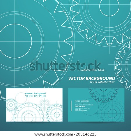 Abstract technology background business cards gears. Vector illustration - stock vector